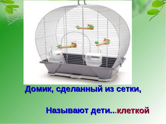 Домик, сделанный из сетки, Называют дети... клеткой