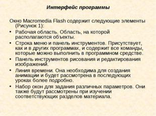 Интерфейс программы Окно Macromedia Flash содержит следующие элементы (Рисуно