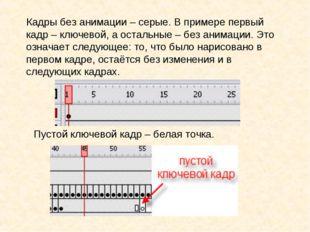 Кадры без анимации – серые. В примере первый кадр – ключевой, а остальные – б
