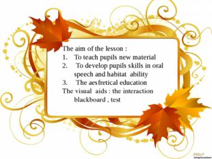 The aim of the lesson : To teach pupils new material To develop pupils skill