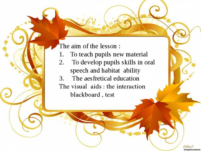 The aim of the lesson : To teach pupils new material To develop pupils skill...
