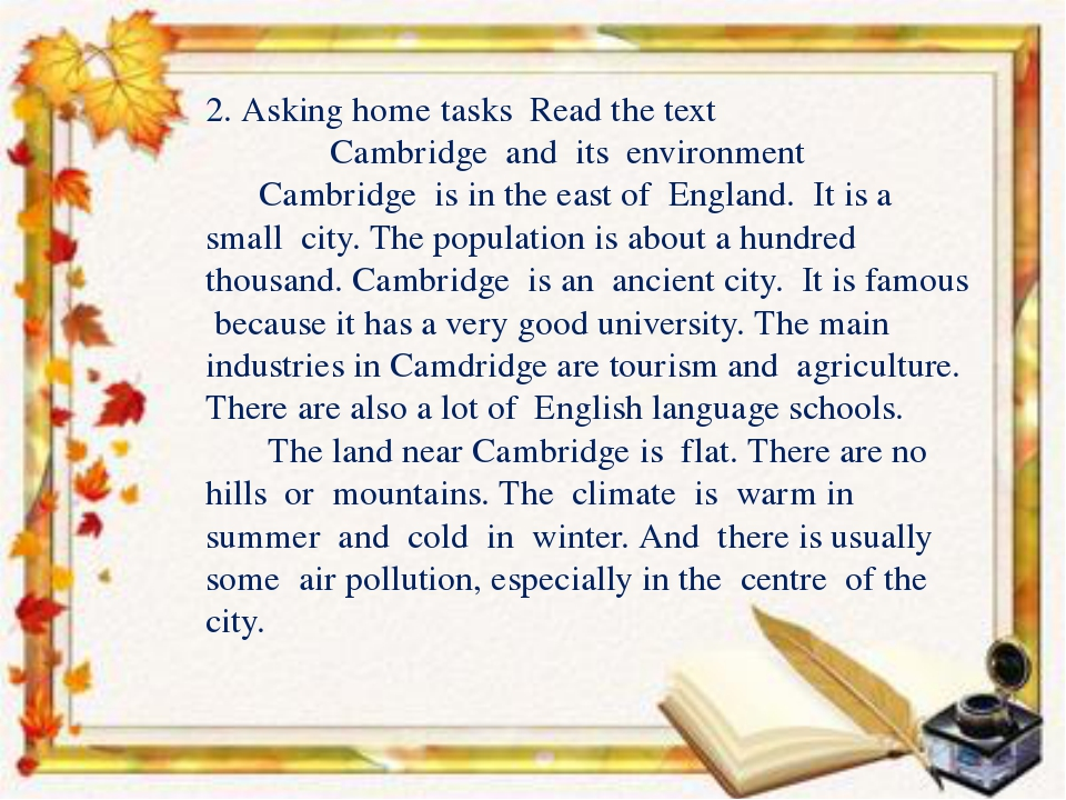 2. Asking home tasks Read the text Cambridge and its environment Cambridge i...