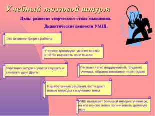 Учебный мозговой штурм Цель: развитие творческого стиля мышления. Дидактическ