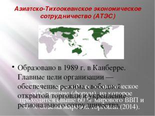 Азиатско-Тихоокеанское экономическое сотрудничество (АТЭС) АТЭС— крупнейшее