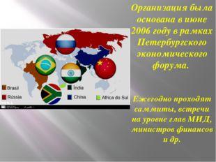 Организация была основана в июне 2006 году в рамках Петербургского экономичес