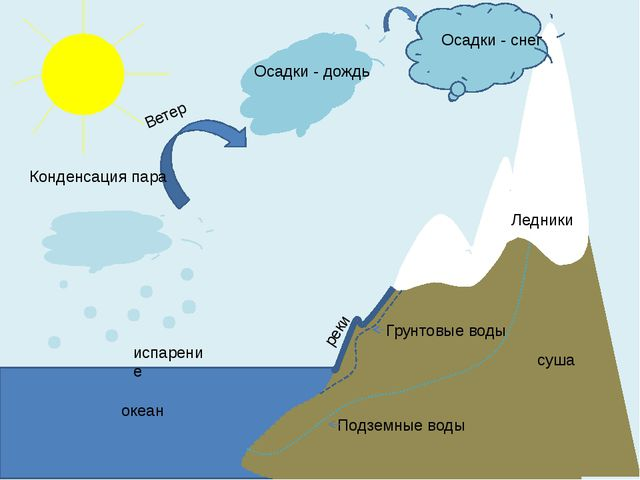 испарение Конденсация пара Ледники Ветер реки океан суша Грунтовые воды Подз...