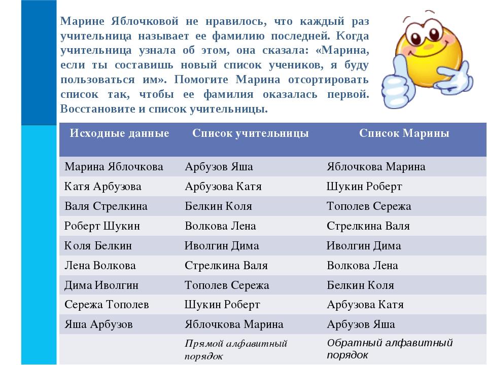 Марине Яблочковой не нравилось, что каждый раз учительница называет ее фамили...