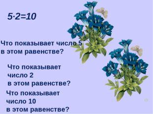 5·2=10 Что показывает число 5 в этом равенстве? Что показывает число 2 в этом