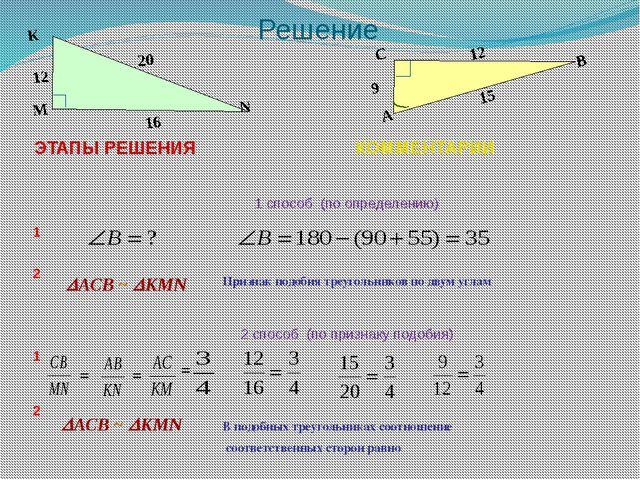 Решение АСB ~ КMN В подобных треугольниках соотношение соответственных стор...