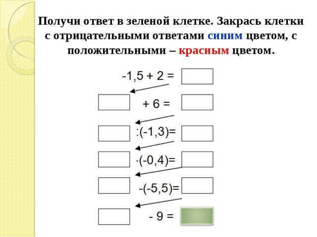 Получи ответ в зеленой клетке. Закрась клетки с отрицательными ответами синим...