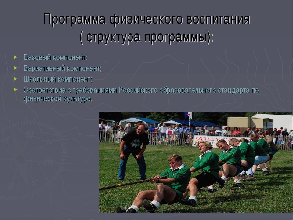 Программа физического воспитания ( структура программы): Базовый компонент;...