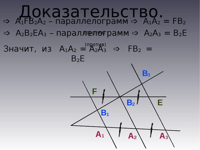 Доказательство. А1 А2 А3 B1 B2 B3 F E ➩ А1FВ2A2 – параллелограмм ➩ А1А2 = FB2...