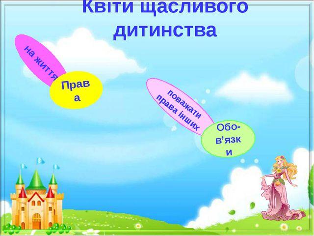 Квіти щасливого дитинства на життя Права поважати права інших Обо-в'язки