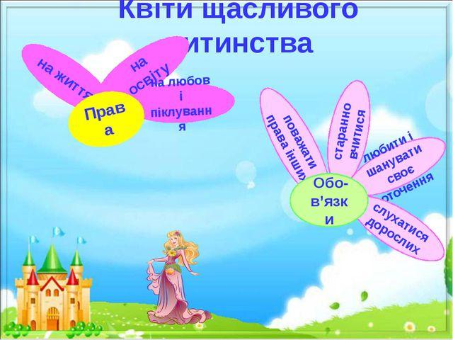 Квіти щасливого дитинства на життя на освіту на любов і піклування Права люби...