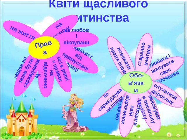 Квіти щасливого дитинства на захист від примусової праці на життя всі є рівні...