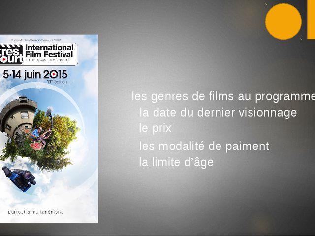 les genres de films au programme la date du dernier visionnage le prix...