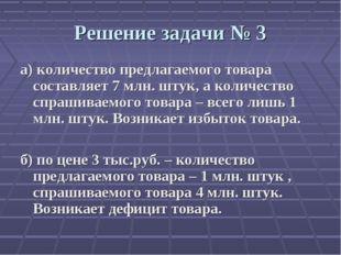Решение задачи № 3 а) количество предлагаемого товара составляет 7 млн. штук,