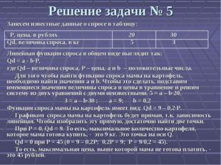 Решение задачи № 5 Занесем известные данные о спросе в таблицу: P, цена, в ру