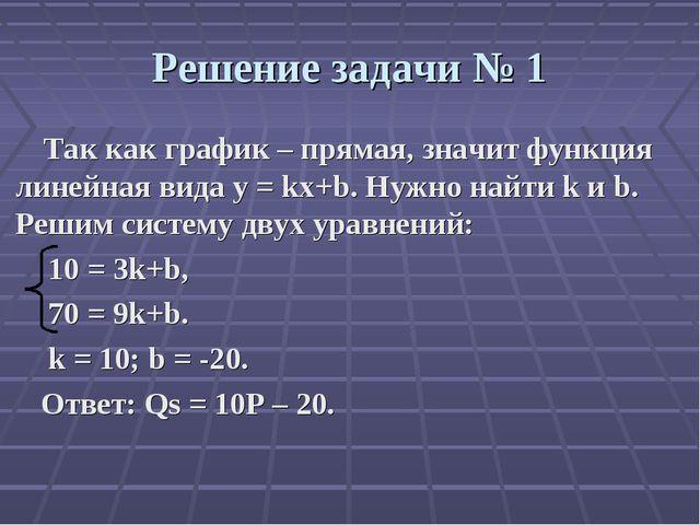 Решение задачи № 1 Так как график – прямая, значит функция линейная вида y =...