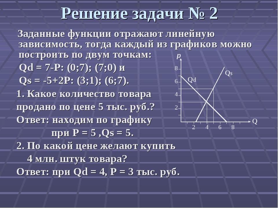 Решение задачи № 2 Заданные функции отражают линейную зависимость, тогда кажд...