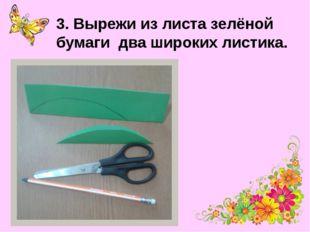 3. Вырежи из листа зелёной бумаги два широких листика.