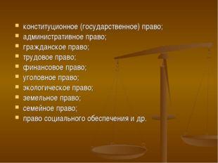 конституционное (государственное) право; административное право; гражданское