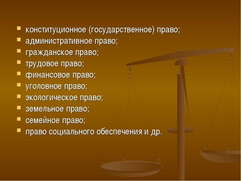 конституционное (государственное) право; административное право; гражданское...