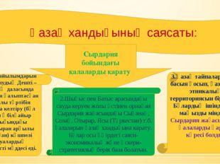 Қазақ хандығының саясаты: Сырдария бойындағы қалаларды қарату 1.Мал жайылымда