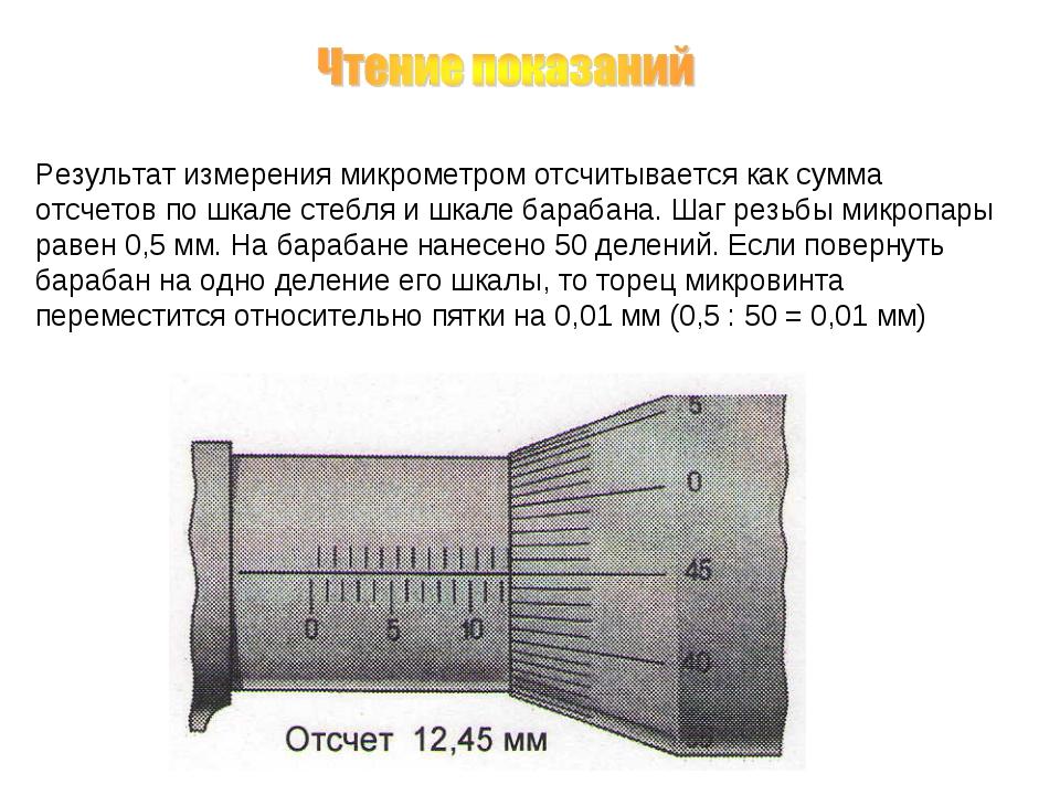 Результат измерения микрометром отсчитывается как сумма отсчетов по шкале сте...