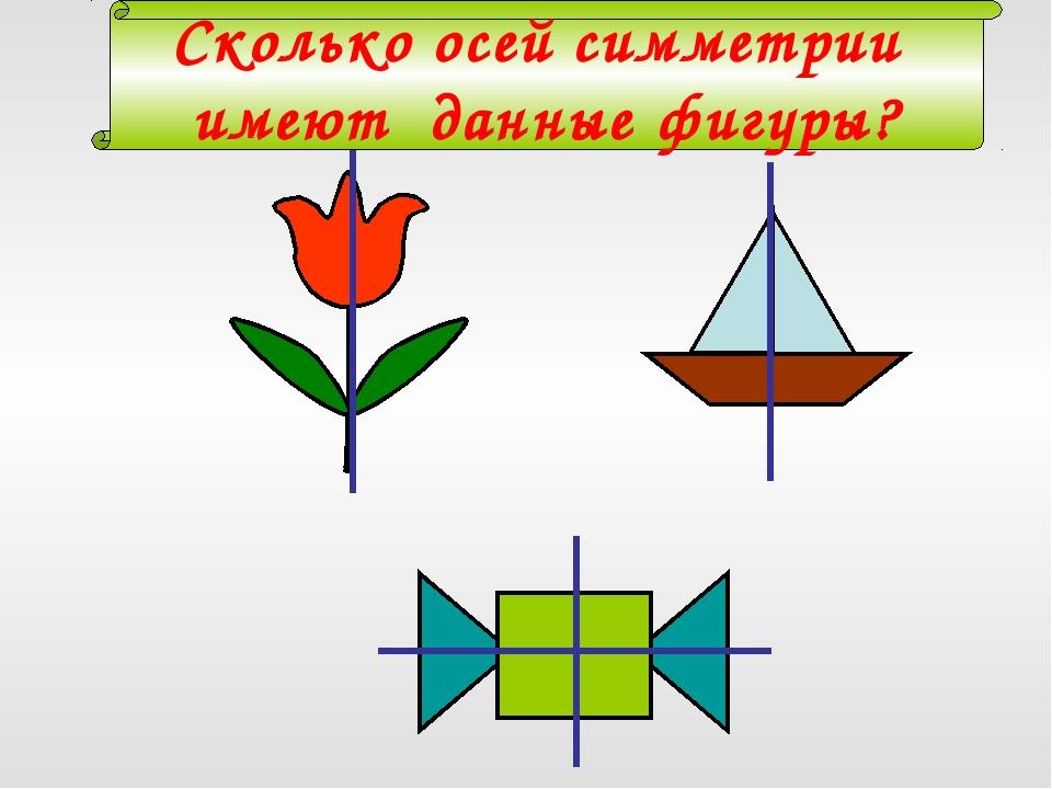 Сколько осей симметрии имеют данные фигуры?