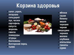 Корзина здоровья салат, укроп, петрушка сельдерей лук, чеснок картофель капус