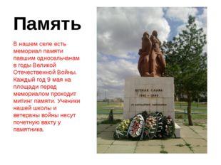Память В нашем селе есть мемориал памяти павшим односельчанам в годы Великой