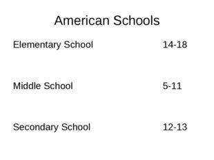 American Schools Elementary School14-18 Middle School5-11 Secondary