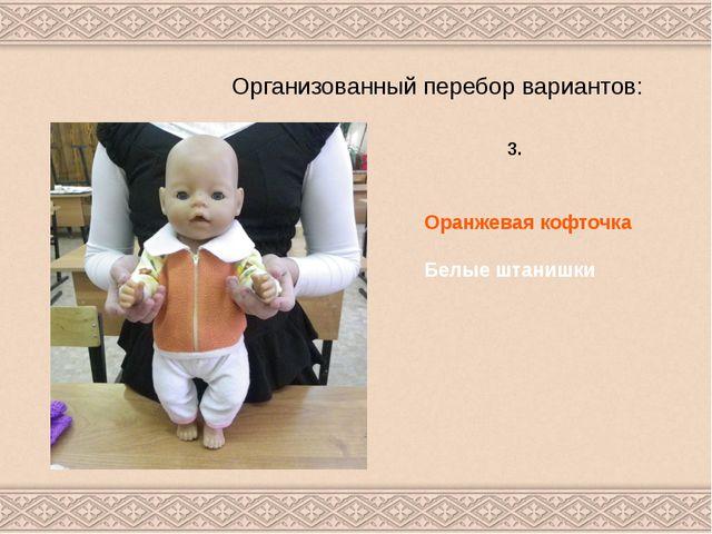 Организованный перебор вариантов: 3. Оранжевая кофточка Белые штанишки