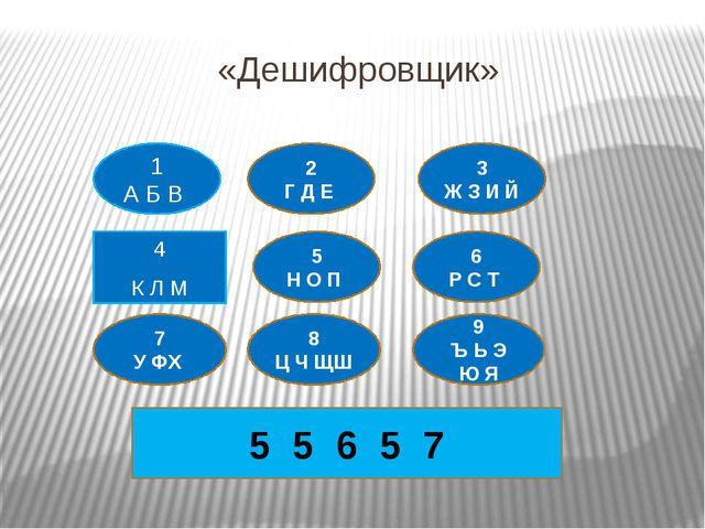 «Дешифровщик» 4 К Л М 1 А Б В 2 Г Д Е 3 Ж З И Й 5 Н О П 7 У ФХ 8 Ц Ч ЩШ 6 Р С...
