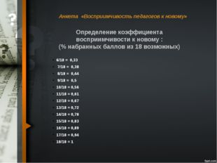 Анкета «Восприимчивость педагогов к новому» 6/18 = 0,33 7/18 = 0,38 8/18 = 0
