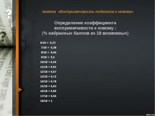 Анкета «Восприимчивость педагогов к новому» 6/18 = 0,33 7/18 = 0,38 8/18 = 0...