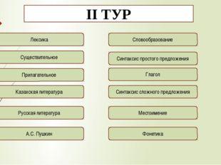 ІІ ТУР Лексика Существительное Прилагательное Казахская литература Русская ли
