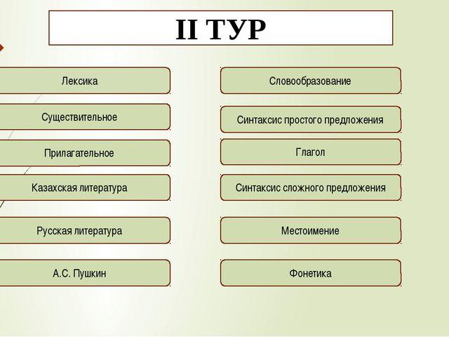 ІІ ТУР Лексика Существительное Прилагательное Казахская литература Русская ли...
