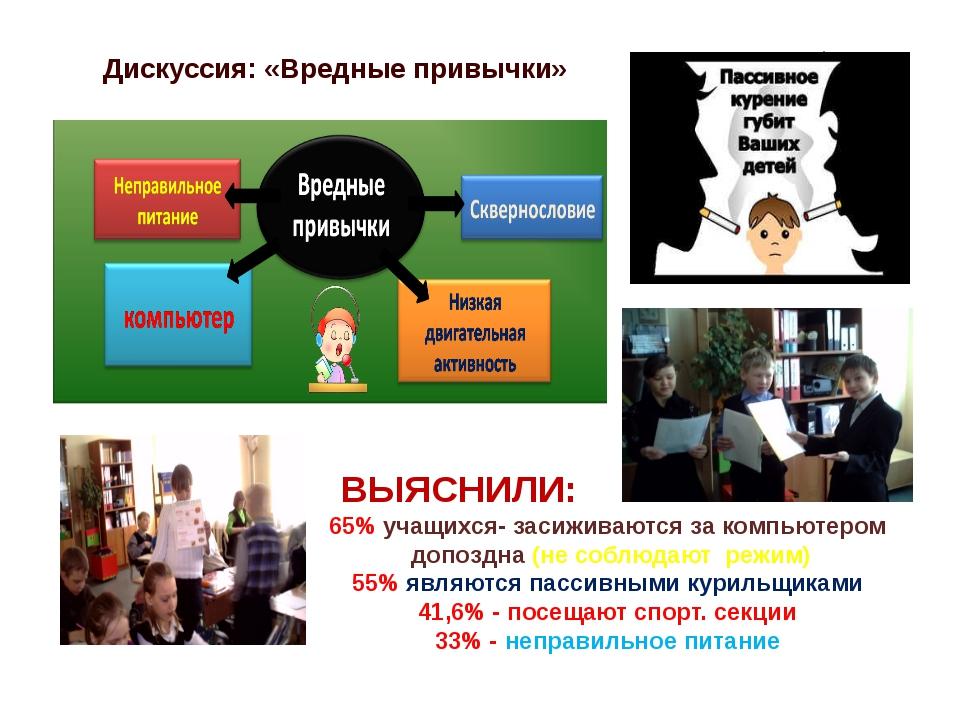 Дискуссия: «Вредные привычки» ВЫЯСНИЛИ: 65% учащихся- засиживаются за компьют...