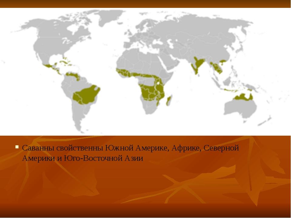 Саванны свойственны Южной Америке, Африке, Северной Америки и Юго-Восточной А...