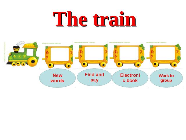 New words Find and say Electronic book Work in group The train