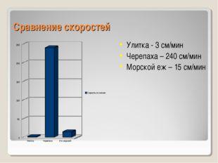 Сравнение скоростей Улитка - 3 см/мин Черепаха – 240 см/мин Морской еж – 15 с