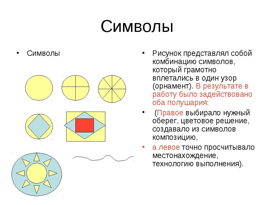 Символы Символы Рисунок представлял собой комбинацию символов, который грамот...