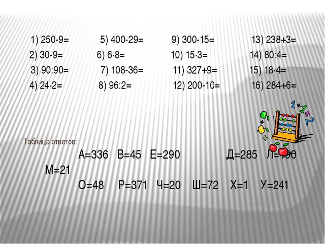 Таблица ответов: А=336 В=45 Е=290 Д=285 Л=190 М=21 О=48 Р=371 Ч=20 Ш=72 Х=1 У...