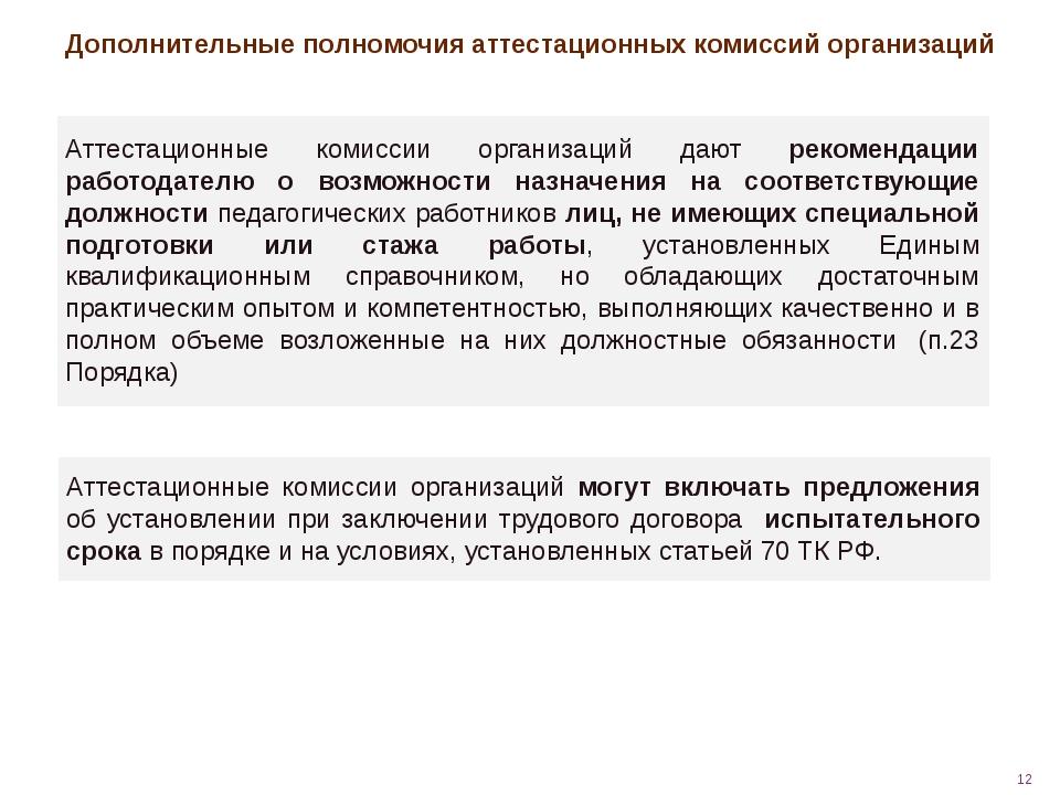 Дополнительные полномочия аттестационных комиссий организаций Аттестационные...