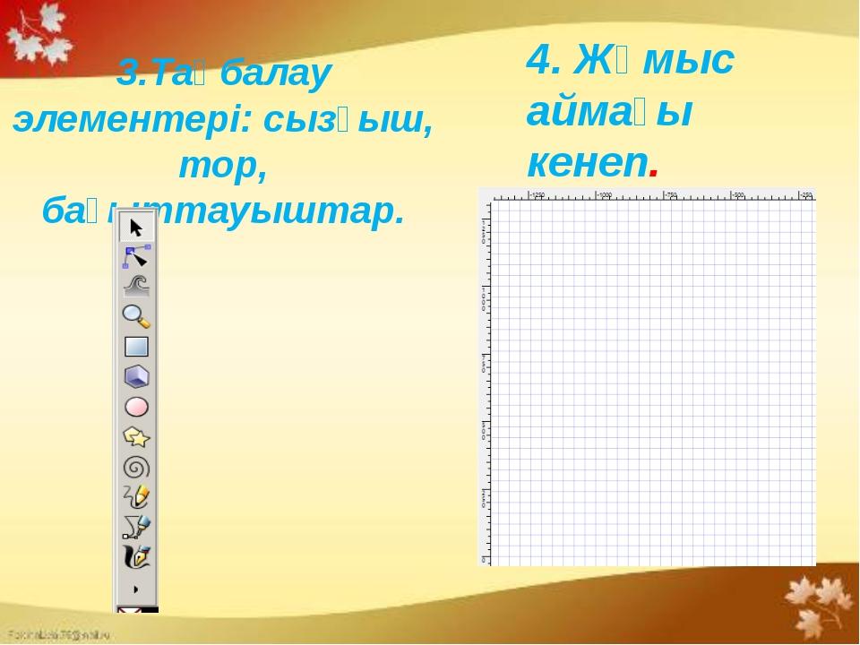 3.Таңбалау элементері: сызғыш, тор, бағыттауыштар. 4. Жұмыс аймағы кенеп.