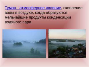 Туман - атмосферное явление, скопление воды в воздухе, когда образуются мельч