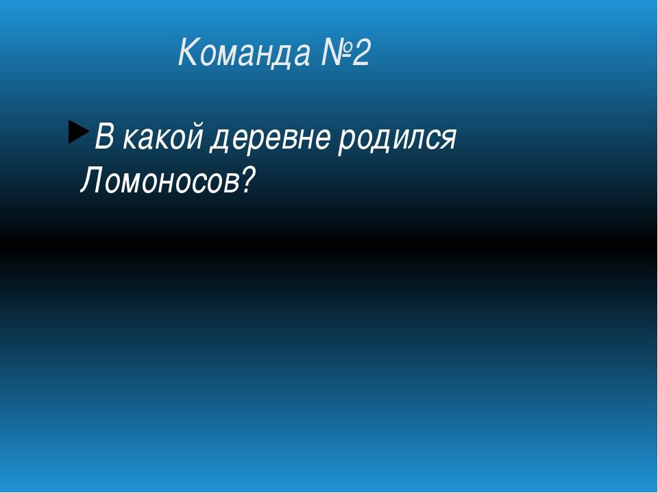 Команда №2 В какой деревне родился Ломоносов?