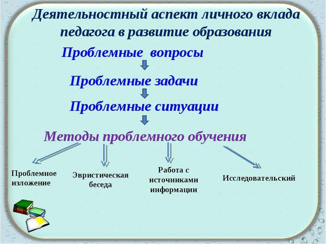 Деятельностный аспект личного вклада педагога в развитие образования Проблемн...